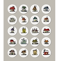 Set of icons with houses for your design vector image