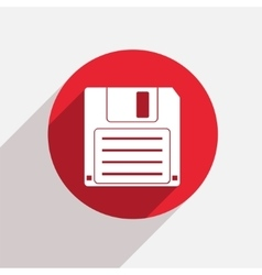 Modern diskette red circle icon vector