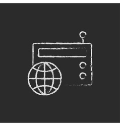 Retro radio icon drawn in chalk vector