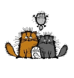 Fluffy cats family sketch for your design vector
