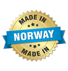 Made in norway gold badge with blue ribbon vector