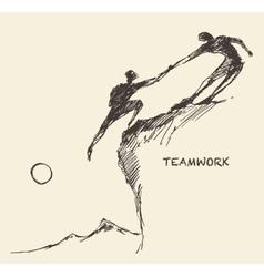 Draw helping man climb teamwork partnership sketch vector