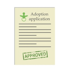 Adoption application with approved stamp vector