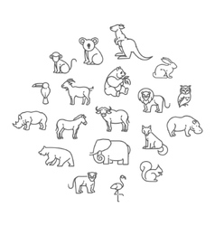 animal icons Zoo icons Animals vector image