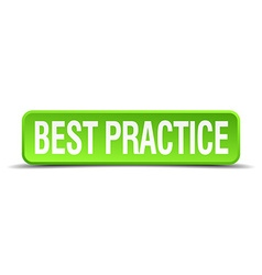 best practice green 3d realistic square isolated vector image vector image