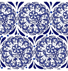 Blue seamless pattern in the style of Russian vector image vector image