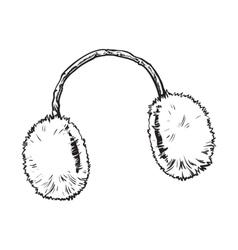 Bright fluffy fur ear muffs vector image