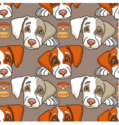 Cartoon dog on grey seamless pattern vector