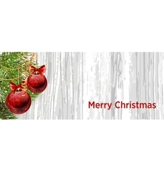Christmas design with fir tree on wooden vector image vector image