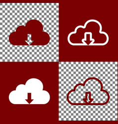 Cloud technology sign bordo and white vector