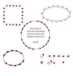 Decorative frames with red glittering hearts vector image