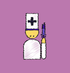 Flat shading style icon doctor with a syringe vector