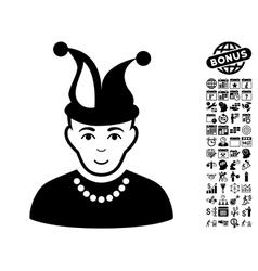Fool Flat Icon With Bonus vector image