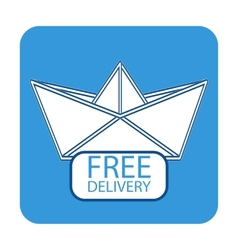 Free delivery icon with paper boat vector image vector image