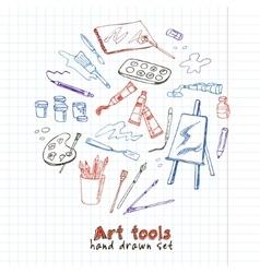 Hand drawn art tools set vector