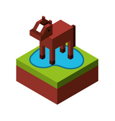 Horse with ground isometric isolated icon vector