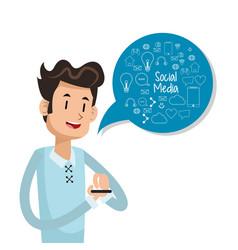 man user smartphone bubble speech social media vector image vector image