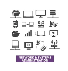 Network systems administration icons set vector