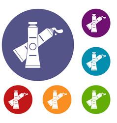 Oil paints icons set vector
