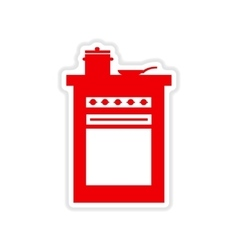 Paper sticker on white background kitchen stove vector