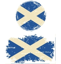 Scottish round and square grunge flags vector