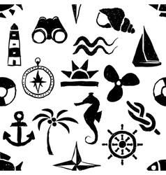 Seamless doodle marine pattern vector