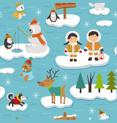 Seamless pattern with eskimos and animals vector