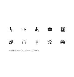 set of 10 editable office icons includes symbols vector image