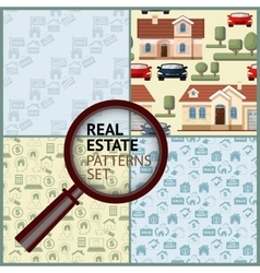 Set Real Estate seamless patterns with houses vector image