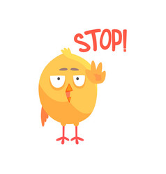 stop funny cartoon comic chicken showing hand vector image