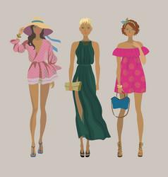 Stylish summer girlsfashion models vector