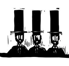 Three men in Top Hats vector image vector image