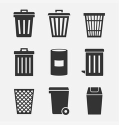 trash can icon set vector image vector image