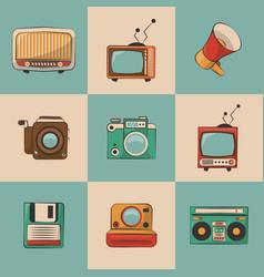 Vintage television mvie music technology retro vector