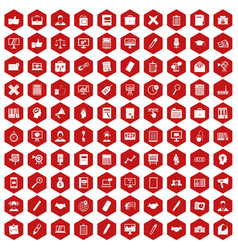 100 finance icons hexagon red vector