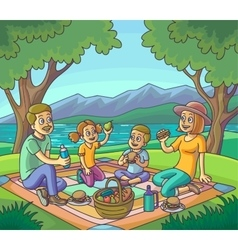 Happy family having picnic outdoors vector image