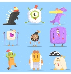 Winter dressed monsters in funny situations vector