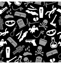 Death theme set of icons black and white seamless vector