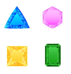 set of blue pink yellow green jewels vector image