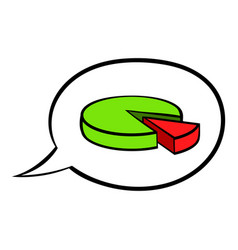 speech bubble with a pie chart icon cartoon vector image