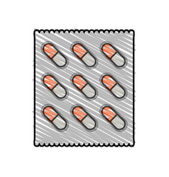Color crayon stripe cartoon pack for capsule pills vector