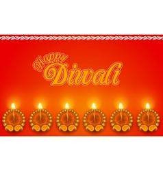 Decorated Diya for Diwali Holiday vector image