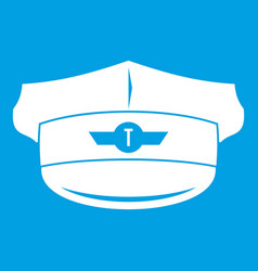 Cap taxi driver icon white vector