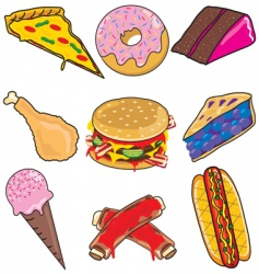 Junk food elements and icons vector