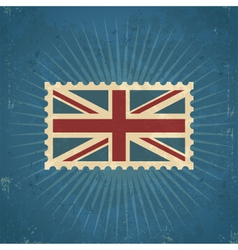 Retro united kingdom flag postage stamp vector