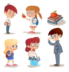 Vintage Style Characters School Children Set vector image