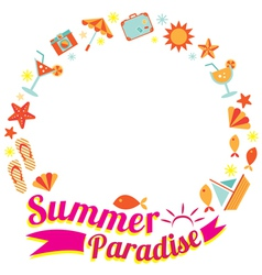 Summer flat icons and text heading wreath vector