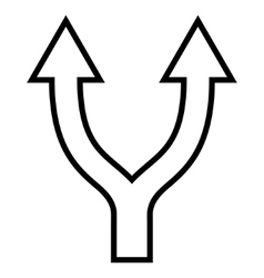 Bifurcation arrow up contour icon vector
