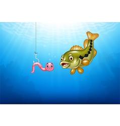 Cartoon bass fish hunting a pink worm vector