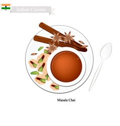 Masala chai traditional indian black hot tea vector